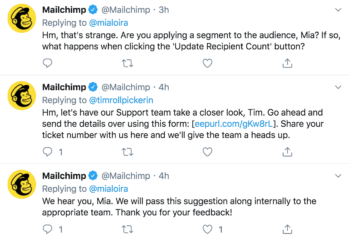 B2B brand Mailchimp replying to customer inquiries and frustrations on Twitter