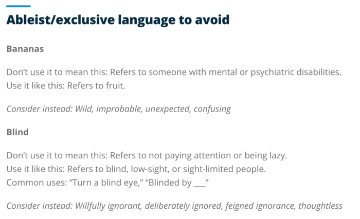 "Examples of ableist/exclusive language to avoid, including ""bananas"" and ""blind"""