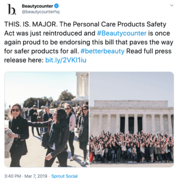 Activism tweet from Beautycounter about the Personal Care Products Safety Act.