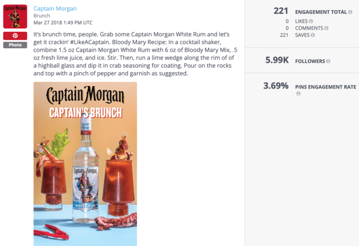 Pinterest post from Captain Morgan about a Bloody Mary cocktail