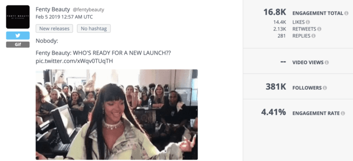 Fenty Beauty Twitter post featuring a Rihanna GIF.