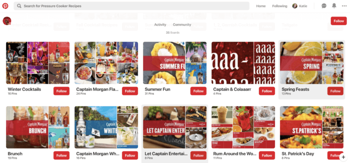 Captain Morgan's Pinterest marketing