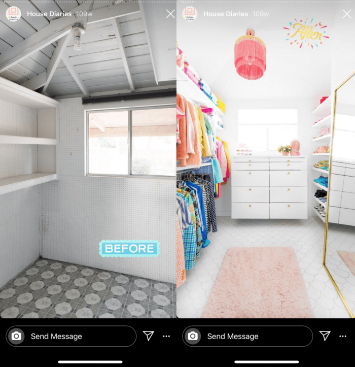 Before and after reveals like this one from HGTV is a helpful Instagram Stories best practice