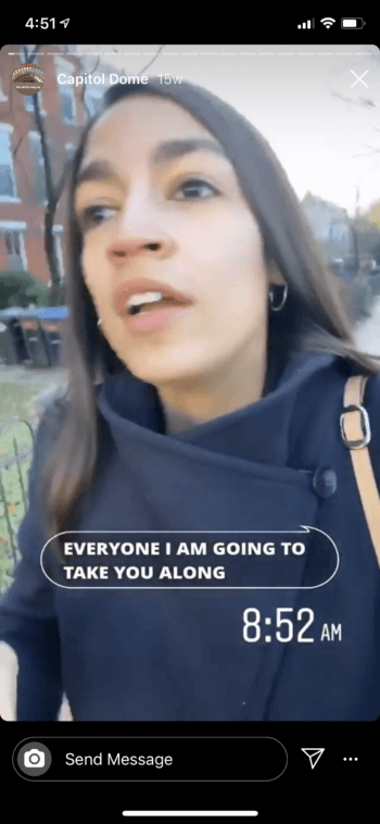 Captions like in this video from Alexandria Ocasio-Cortez are a favorite Instagram Stories best practice for accessibility