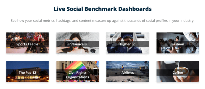 Examples of live social media benchmark dashboards