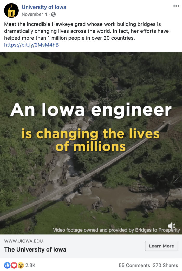 Facebook post from University of Iowa featuring graduates doing good in the world to help with college recruiting