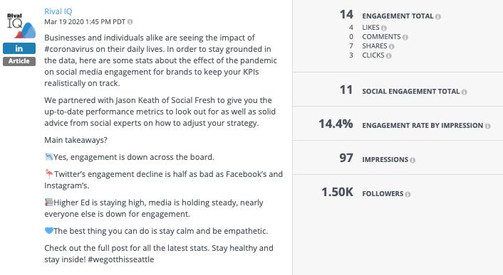 rival iq linkedin company page update
