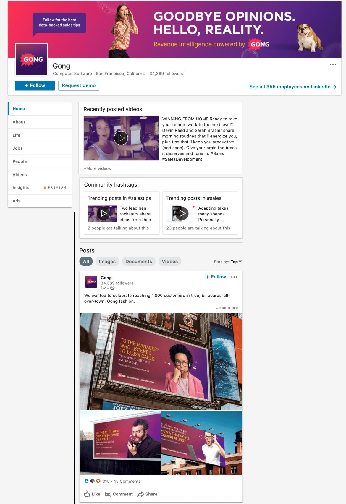 gong linkedin company page