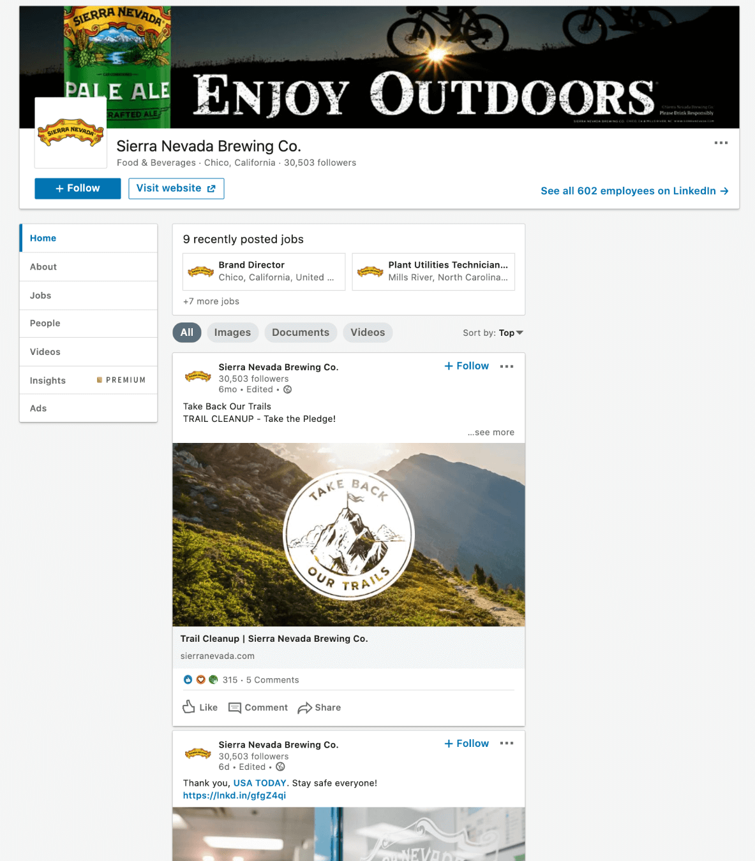 sierra nevada linkedin company page