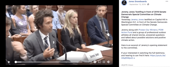 Facebook video still of Jones Snowboards founder Jeremy Jones testifying in front of Congress
