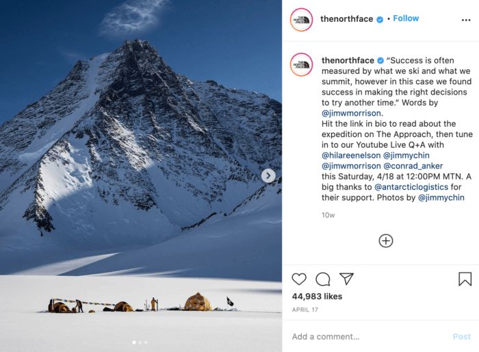 Instagram post from The North Face featuring tents in the foreground and a snow-covered mountain in the background