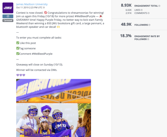 Contest post from JMU featuring a JMU family decked out in purple swag. Contests were a popular choice for higher education social media this year.