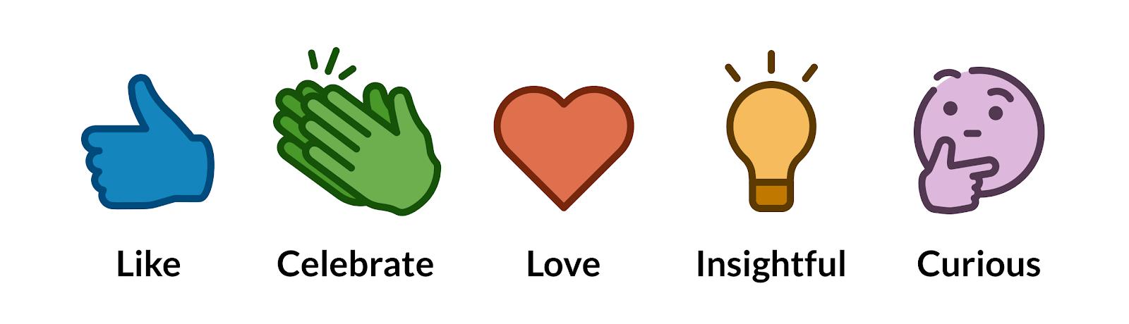 linkedin emoji reactions - like, celebrate, love, insightful, and curious