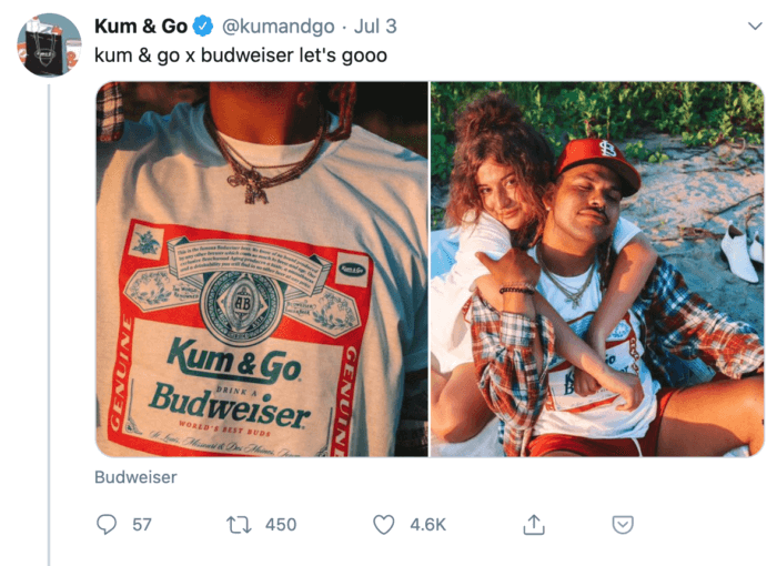Kum and Go and Budweiser tweet featuring young people wearing merch on a beach