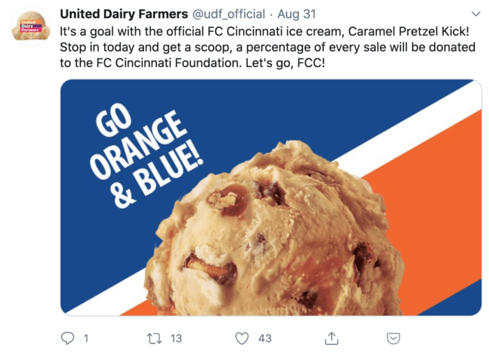 Tweet from United Dairy Farmers about their partnership with the GC Cincinnati Foundation