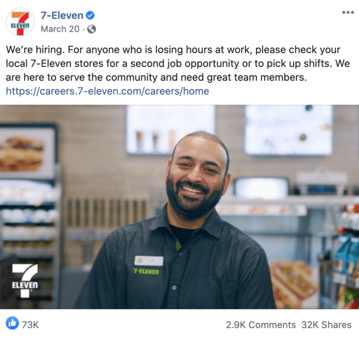 Facebook post from 7-Eleven advertising job openings during COVID-19 to its community members