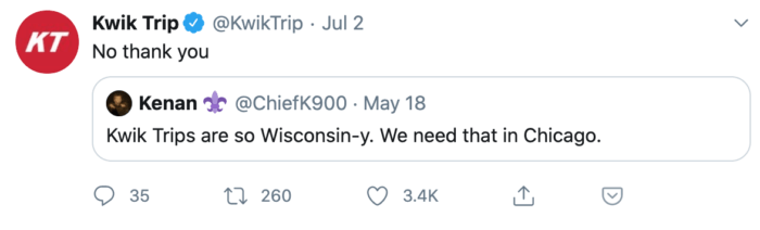 Pithy tweet from Kwik Trip making fun of Wisconsin