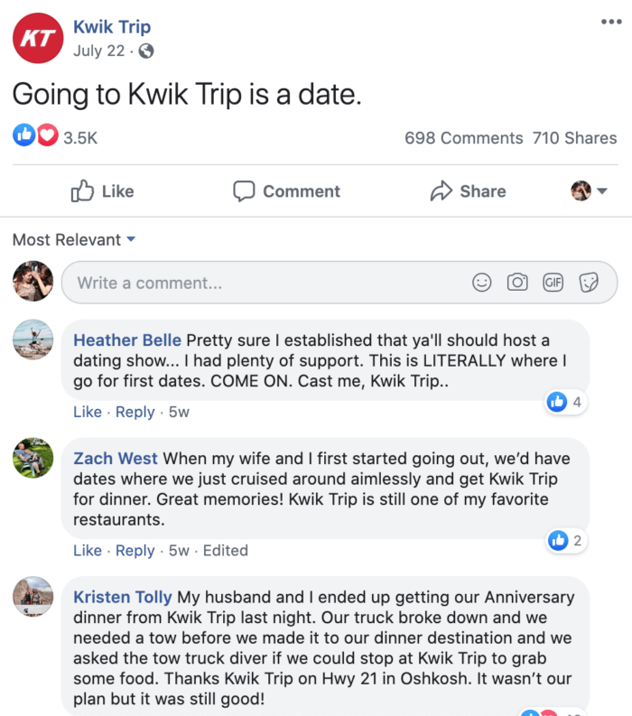 Facebook post from Kwik Trip encouraging followers to post about dates at Kwik Trip