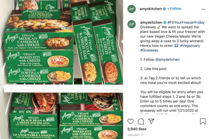 Stacks of Amy's frozen casseroles