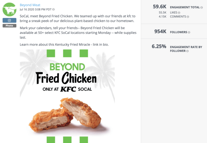 Beyond Meat excited their health food social media followers with this photo of Beyond Chicken Nuggets