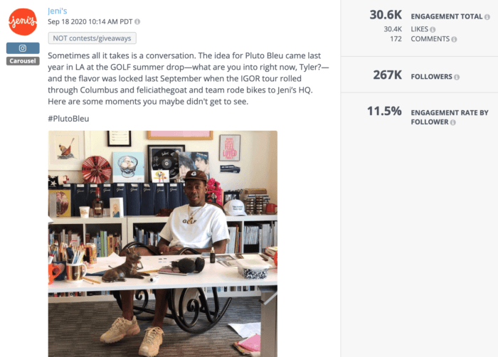 Photo of Tyler, the Creator sitting at a desk is an example of high-performing health food social media