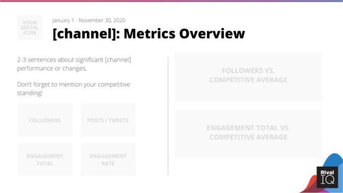 End of year social media template metrics overview