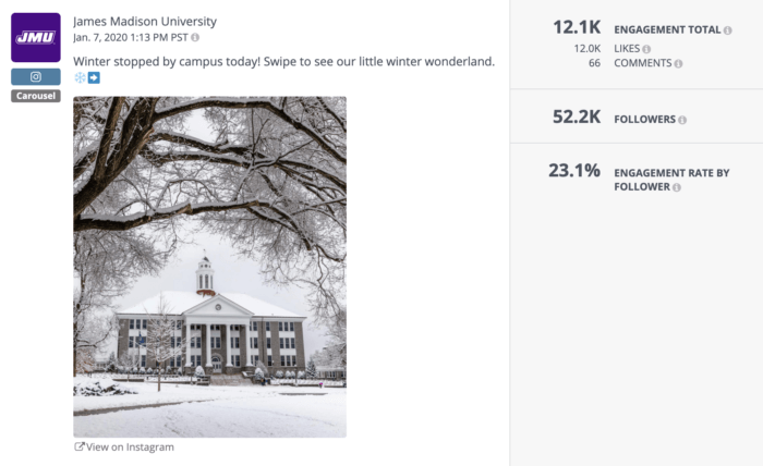 James Madison University's really engaging Instagram carousel post