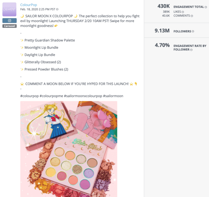 ColourPop Instagram post featuring the brand's Sailor Moon collab is an example of great beauty social media