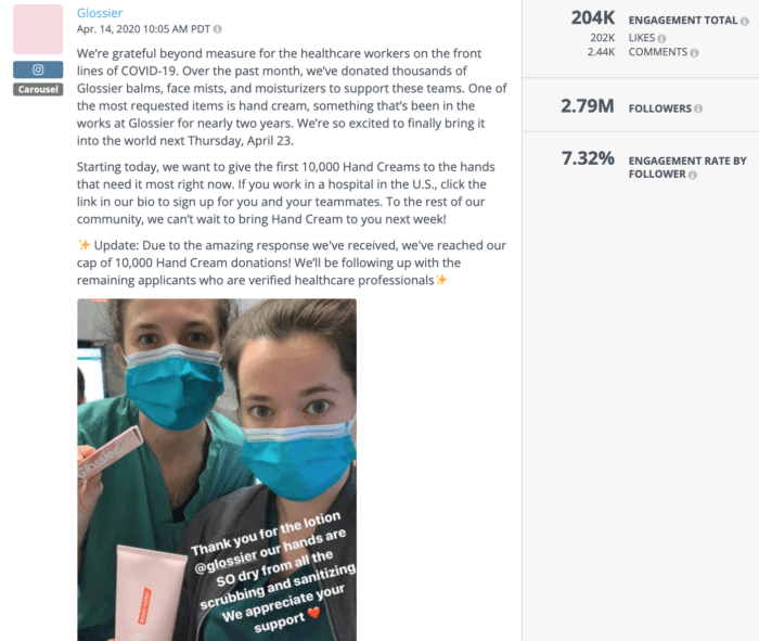 Instagram post from Glossier featuring healthcare workers holding Glossier products is an example of strong beauty social media