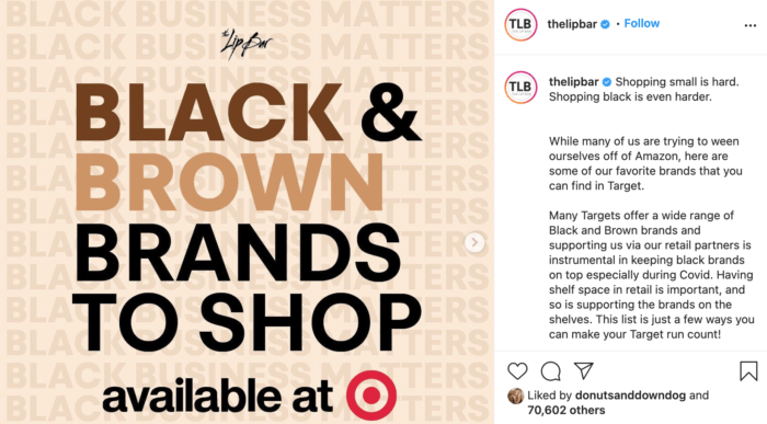 Instagram carousel from The Lip Bar featuring Black and Brown brands to shop at Target