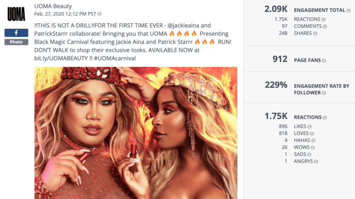 Facebook post from UOMA Beauty featuring Black Magic Carnival product featuring influencers and YouTube stars Jackie Aina and Patrick Starrr was a top example of beauty social media