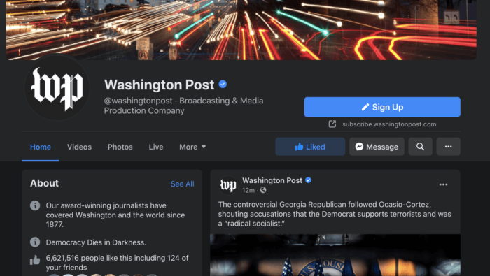 Washington Post Facebook Page