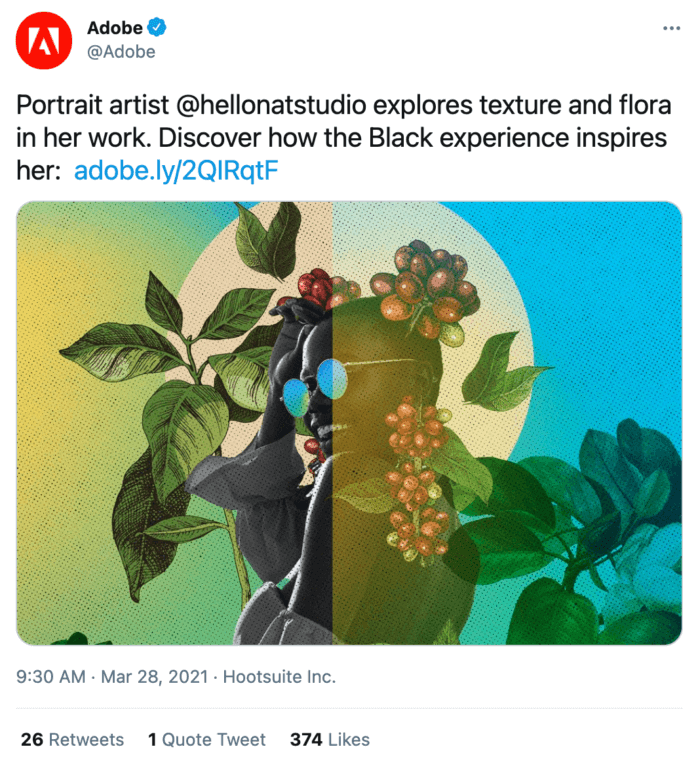 Adobe's tweet featuring colorful visual art by graphic designer and illustrator Natasha Cunningham