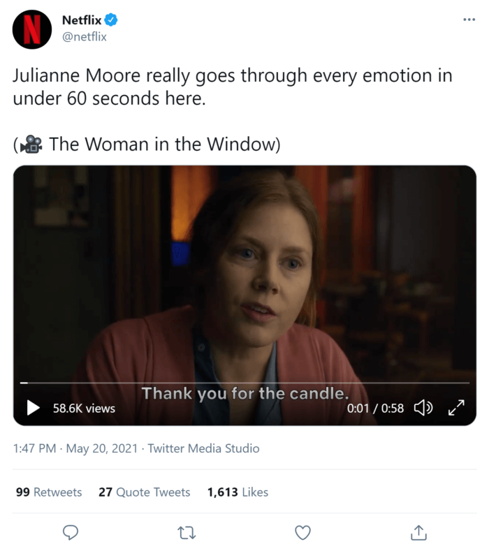 Netflix tweet with a video clip that has captions